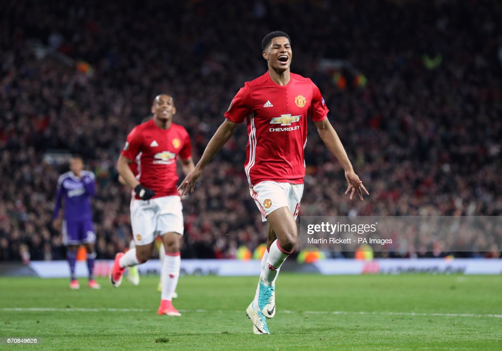 Manchester United's Marcus Rashford (right) celebrates scoring his side's second goal of the game during the UEFA Europa League, Quarter Final match at Old Trafford, Manchester.