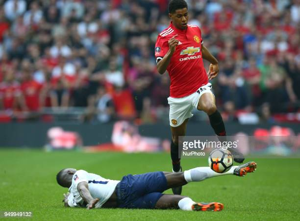 Manchester United's Marcus Rashford during the FA Cup semifinal match between Tottenham Hotspur and Manchester United at Wembley London England on 21...