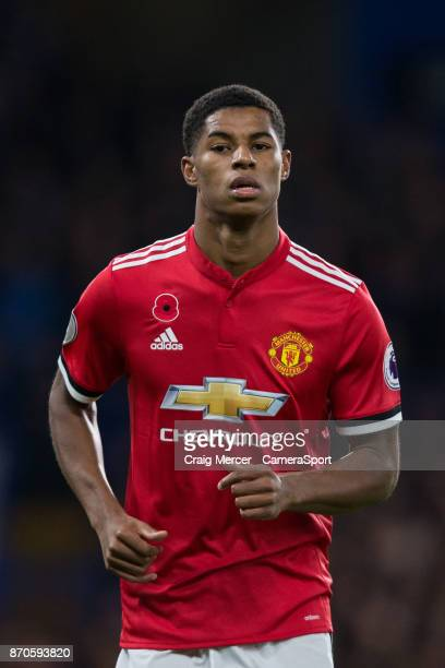 Manchester United's Marcus Rashford during the Premier League match between Chelsea and Manchester United at Stamford Bridge on November 5 2017 in...