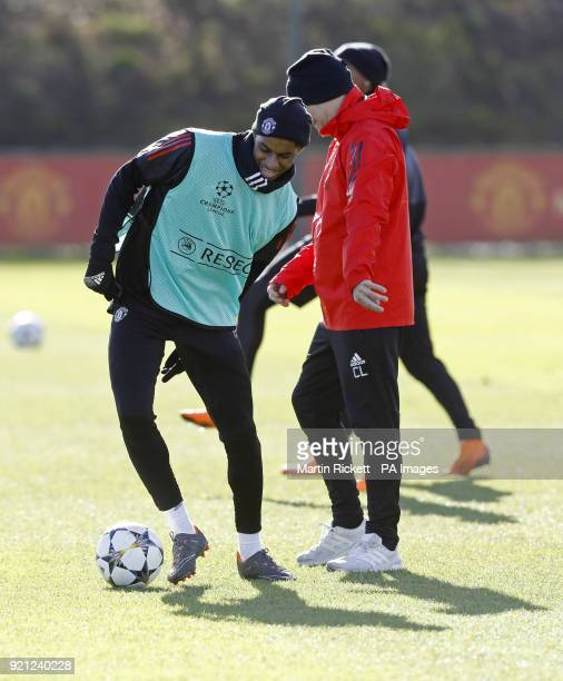 Manchester United's Marcus Rashford during the training session at the AON Training Complex Carrington