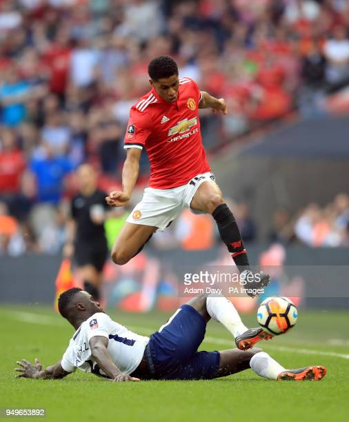 Manchester United's Marcus Rashford gets tackled by Tottenham Hotspur's Davinson Sanchez during the Emirates FA Cup semifinal match at Wembley...