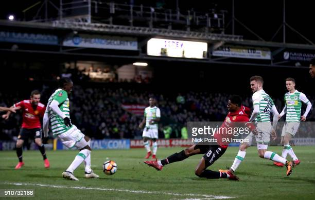 Manchester United's Marcus Rashford in action during the Emirates FA Cup fourth round match at Huish Park Yeovil