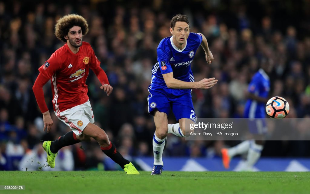 Manchester United's Marouane Fellaini and Chelsea's Nemanja Matic during the Emirates FA Cup, Quarter Final match at Stamford Bridge, London.