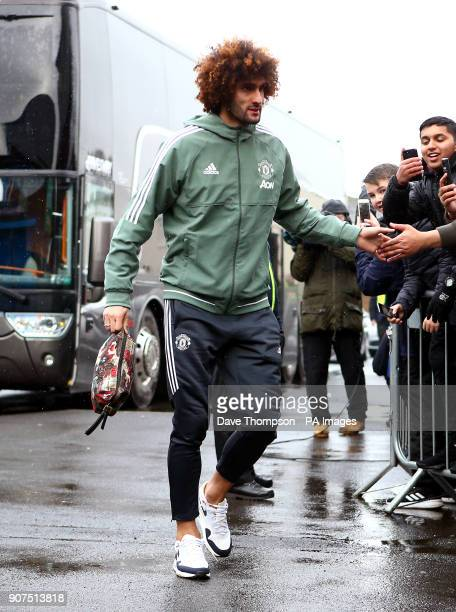 Manchester United's Marouane Fellaini arrives at the Premier League match at Turf Moor Burnley