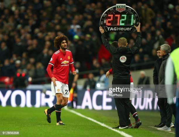 Manchester United's Marouane Fellaini during Premier League match between Tottenham Hotspur against Manchester United at Wembley stadium London...