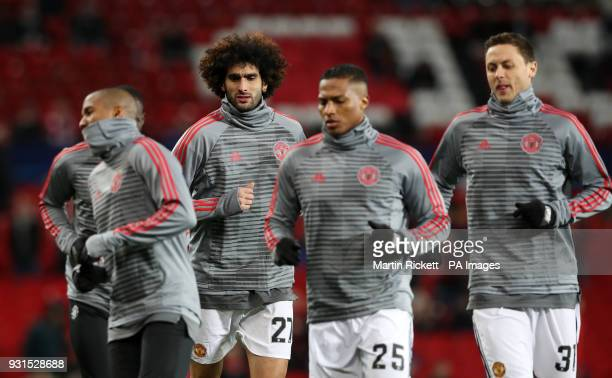 Manchester United's Marouane Fellaini in the warm up before the UEFA Champions League round of 16 second leg match at Old Trafford Manchester