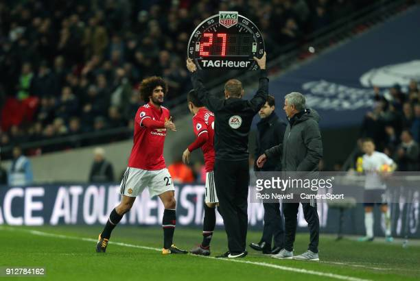 Manchester United's Marouane Fellaini is substituted during the Premier League match between Tottenham Hotspur and Manchester United at Wembley...