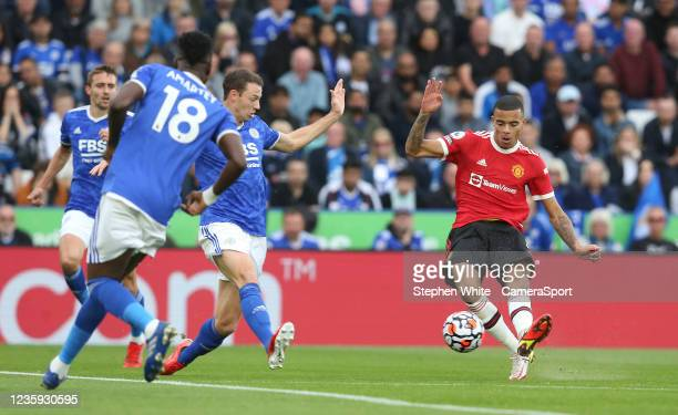Manchester United's Mason Greenwood see this shot blocked by Leicester City's Jonny Evans during the Premier League match between Leicester City and...