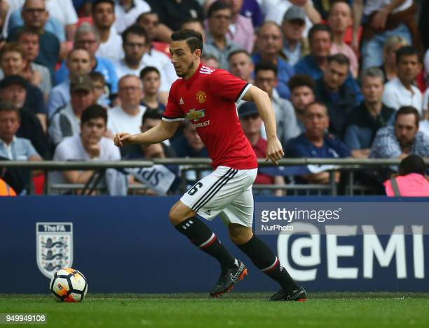Manchester United's Matteo Darmian during the FA Cup semifinal match between Tottenham Hotspur and Manchester United at Wembley London England on 21...