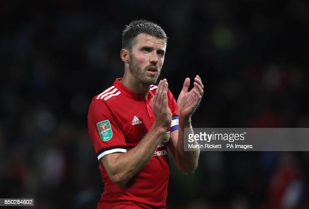 Manchester United's Michael Carrick reacts after the final whistle during the Carabao Cup Third Round match at Old Trafford Manchester
