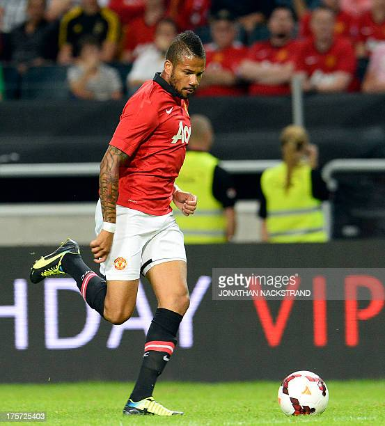 Manchester United's midfielder Bebe controls the ball during a friendly football match between AIK and Manchester United on August 6 2013 at the...