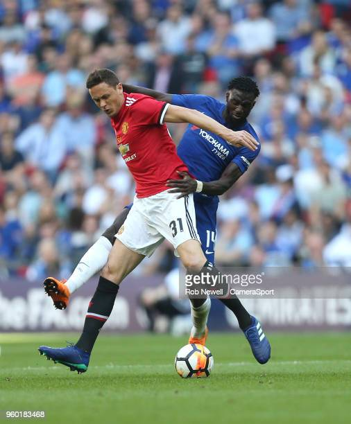 Manchester United's Nemanja Matic and Chelsea's Tiemoue Bakayoko during the Emirates FA Cup Final match between Chelsea and Manchester United at...