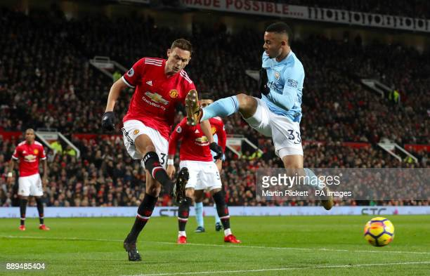 Manchester United's Nemanja Matic and Manchester City's Gabriel Jesus battle for the ball during the Premier League match at Old Trafford Manchester