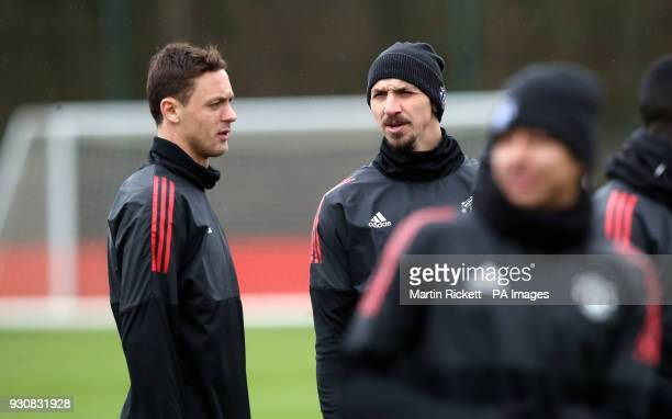 Manchester United's Nemanja Matic and Manchester United's Zlatan Ibrahimovic during the training session at the Aon Training Complex Carrington PRESS...