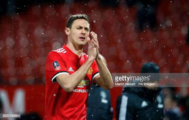 Manchester United's Nemanja Matic applauds the fans after the Emirates FA Cup quarter final match at Old Trafford Manchester
