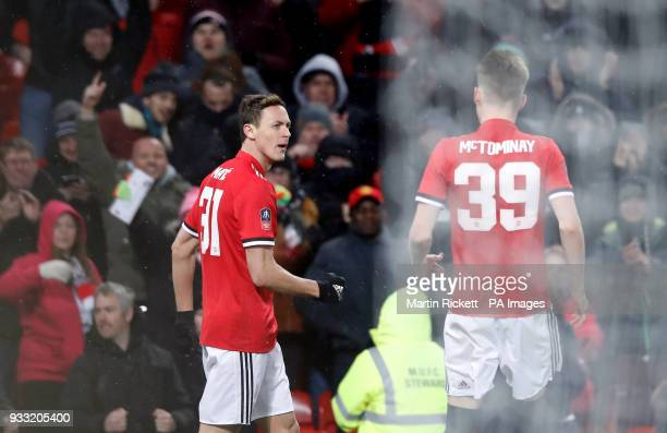 Manchester United's Nemanja Matic celebrates scoring his side's first goal of the game during the Emirates FA Cup quarter final match at Old Trafford...