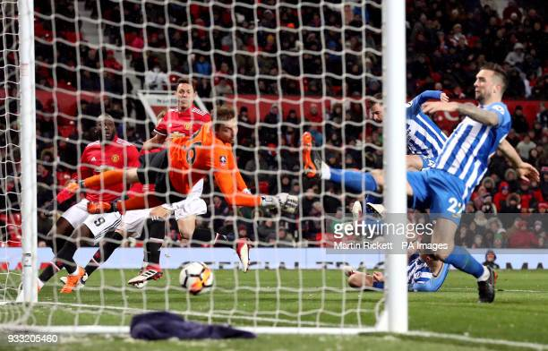 Manchester United's Nemanja Matic scores his side's second goal of the game during the Emirates FA Cup quarter final match at Old Trafford Manchester
