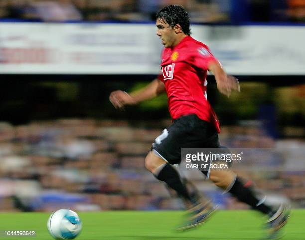 Manchester United's new Argentinian signing Carlos Tevez in action against Portsmouth during their Premiership football match at Fratton Park Stadium...