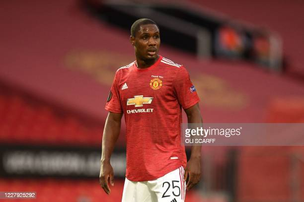 Manchester United's Nigerian striker Odion Ighalo looks on during the UEFA Europa League last 16 second leg football match between Manchester United...