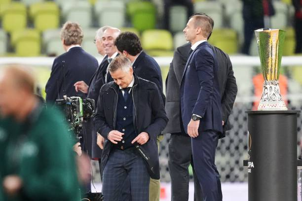 Manchester United's Norwegian manager Ole Gunnar Solskjaer reacts at the end of the UEFA Europa League final football match between Villarreal CF and...