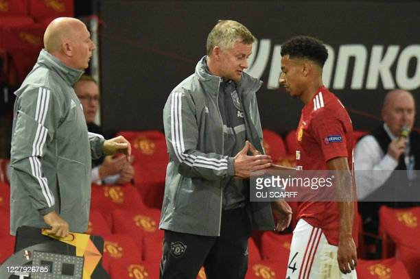 Manchester United's Norwegian manager Ole Gunnar Solskjaer substitutes Manchester United's English midfielder Jesse Lingard during the UEFA Europa...