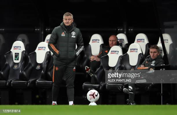 Manchester United's Norwegian manager Ole Gunnar Solskjaer watches during the English Premier League football match between Newcastle United and...