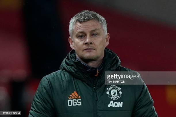 Manchester United's Norwegian manager Ole Gunnar Solskjaer watches from the touchline during the English Premier League football match between...