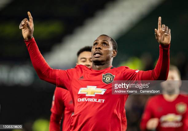 Manchester United's Odion Ighalo celebrates scoring his side's second goal during the FA Cup Fifth Round match between Derby County and Manchester...