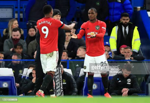Manchester United's Odion Ighalo makes his debut as he comes on as a substitute for team mate Anthony Martial during the Premier League match at...