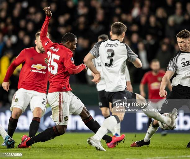 Manchester United's Odion Ighalo scoring his side's second goal during the FA Cup Fifth Round match between Derby County and Manchester United at...