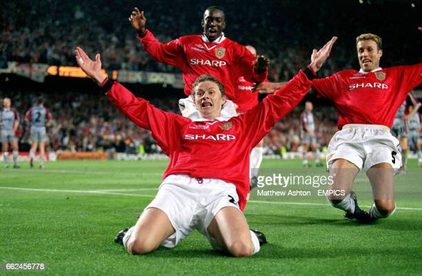 Manchester United's Ole Gunnar Solskjaer celebrates the winning goal with Dwight Yorke and Ronny Johnsen Soccer UEFA Champions League Final...