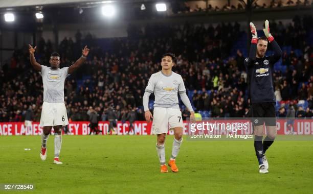 Manchester United's Paul Pogba Alexis Sanchez and goalkeeper David De Gea applaud the fans after during the Premier League match at Selhurst Park...