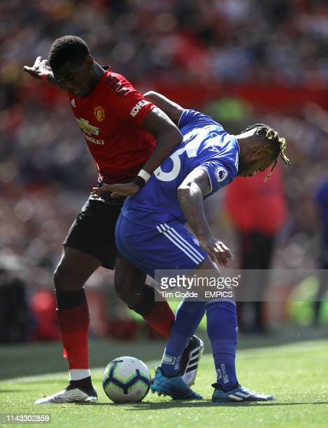 Manchester United's Paul Pogba and Cardiff City's Leandro Bacuna battle for the ball Manchester United v Cardiff City Premier League Etihad Stadium