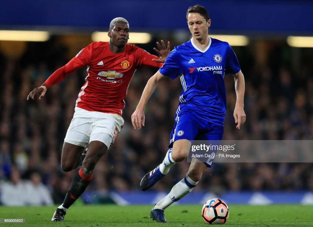 Manchester United's Paul Pogba and Chelsea's Nemanja Matic during the Emirates FA Cup, Quarter Final match at Stamford Bridge, London.