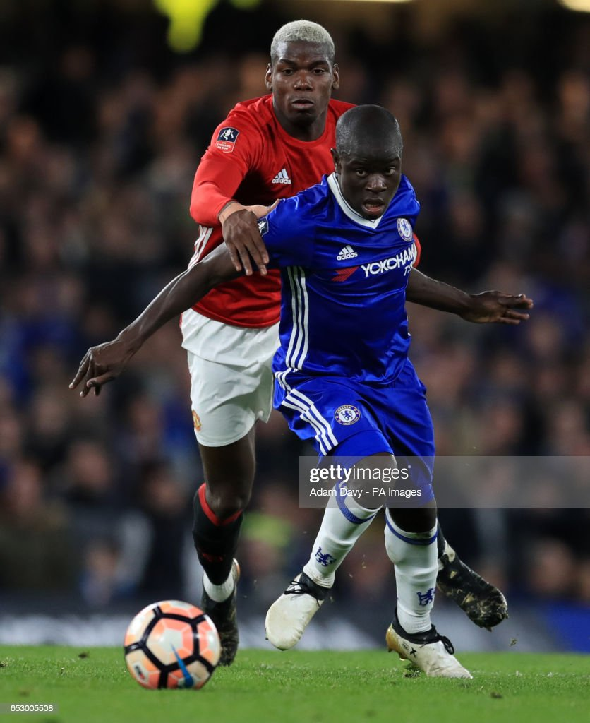 Manchester United's Paul Pogba and Chelsea's N'Golo Kante during the Emirates FA Cup, Quarter Final match at Stamford Bridge, London.