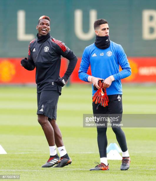 Manchester United's Paul Pogba and Manchester United goalkeeper Joel Castro Pereira during the training session at the AON Training Complex Carrington