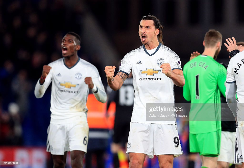 Manchester United's Paul Pogba and Zlatan Ibrahimovic (right) celebrate after the Premier League match at Selhurst Park, London.