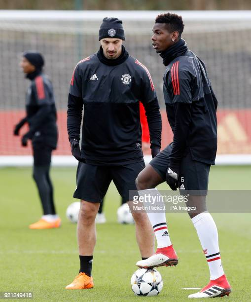 Manchester United's Paul Pogba and Zlatan Ibrahimovic during the training session at the AON Training Complex Carrington
