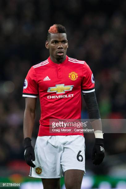 Manchester United's Paul Pogba during the Premier League match between Tottenham Hotspur and Manchester United at Wembley Stadium on January 31 2018...