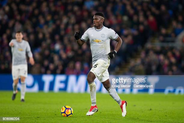 Manchester United's Paul Pogba in action during the Premier League match between Crystal Palace and Manchester United at Selhurst Park on March 5...