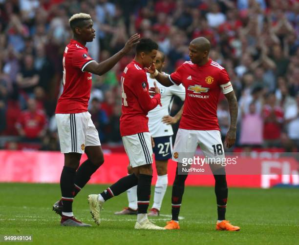 LR Manchester United's Paul Pogba Manchester United's Jesse Lingard and Manchester United's Ashley Young during the FA Cup semifinal match between...