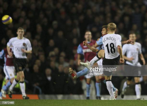 Manchester United's Paul Scholes scores his goal during the Barclays Premiership match between Aston Villa and Manchester United at Villa Park on...