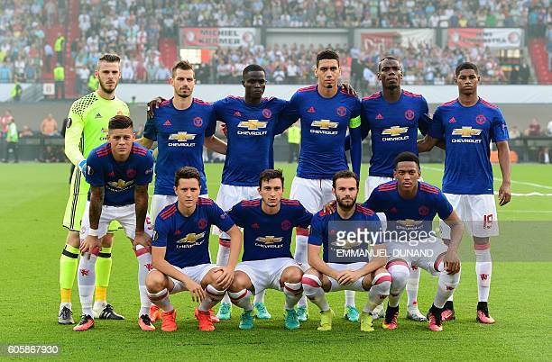 Manchester United's player pose before the UEFA Europa League match between Feyenoord Rotterdam and Manchester United at the Feyenoord Stadium in...