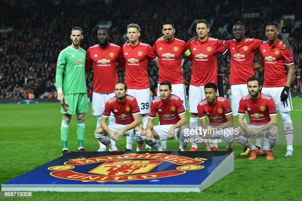 Manchester United's players Manchester United's Spanish goalkeeper David de Gea Manchester United's Belgian striker Romelu Lukaku Manchester United's...