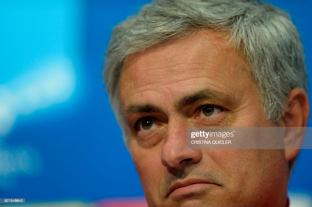 Manchester United's Portuguese coach Jose Mourinho attends a press conference at the Ramon Sanchez Pizjuan stadium in Sevilla on the eve of the UEFA Champions League football match between Sevilla and Manchester United on February 20, 2018. / AFP PHOTO / Cristina Quicler