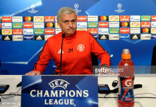 Manchester United's Portuguese coach Jose Mourinho looks on as he attends a press conference at the Ramon Sanchez Pizjuan stadium in Sevilla on the...