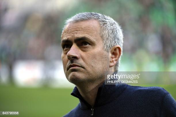 Manchester United's Portuguese coach Jose Mourinho looks on before the UEFA Europa League football match between AS SaintEtienne and Manchester...