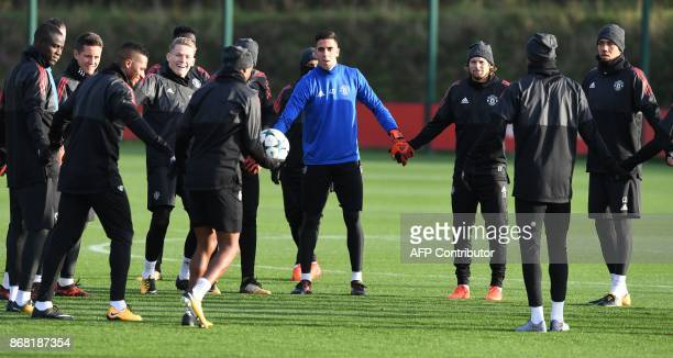Manchester United's Portuguese goalkeeper Joel Castro Pereira attends a team training session at the club's training complex near Carrington west of...