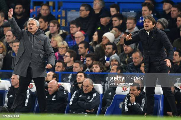 Manchester United's Portuguese manager Jose Mourinho and Chelsea's Italian head coach Antonio Conte gesture on the touchline during the English...