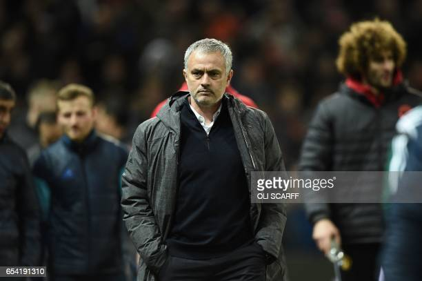 Manchester United's Portuguese manager Jose Mourinho arrives for the UEFA Europa League round of 16 secondleg football match between Manchester...